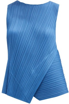 Pleats Please Issey Miyake Asymmetric Technical-pleated Top - Blue