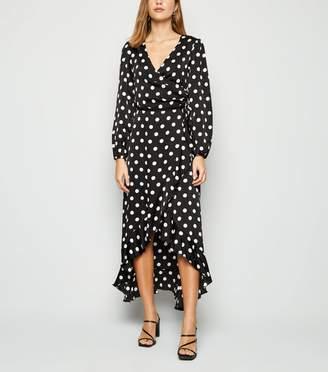 New Look Spot Satin Long Sleeve Midi Dress