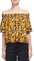 Whistles Silk Citrus Print Off-the-Shoulder Top