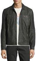 John Varvatos Leather Trucker Jacket, Dark Gray