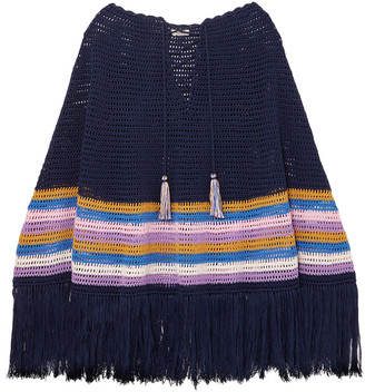 Talitha Collection Fringed Striped Crocheted Cotton Poncho