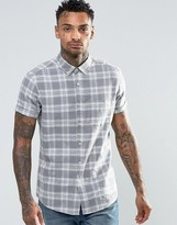 Asos Check Shirt In Linen Mix With Short Sleeves