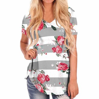 Lialbert Womens Clothes Lialber Save 15% Womens Ladies Floral Print V Neck Polyester Casual Loose Stripe Sweat Wicking Tee T-Shirt Gray