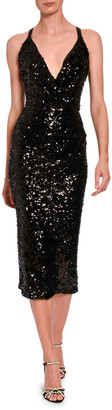 Dolce & Gabbana Sleeveless V-Neck Sequined Midi Dress