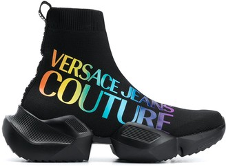 Versace Rainbow Logo Sock Trainers