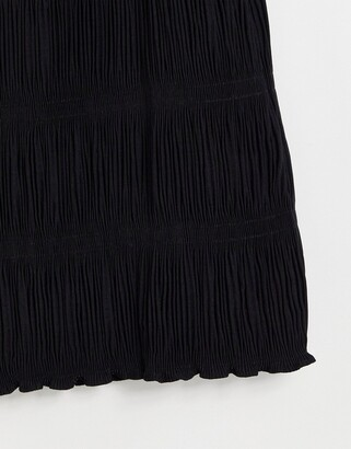 And other stories & shirred detail midi skirt in black