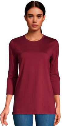 Lands' End Women's 3/4-Sleeve Supima Cotton Crewneck Tunic
