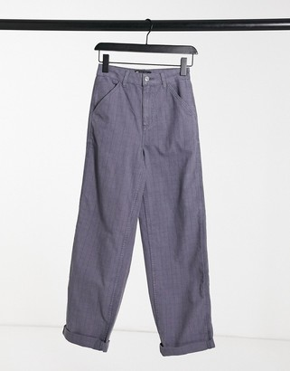 ASOS DESIGN slouchy chino pants in laundered blue check
