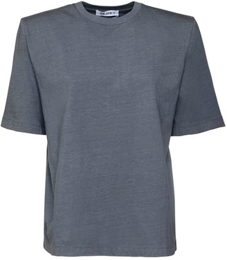 ATTICO Cotton Jersey T-Shirt W/Padded Shoulders