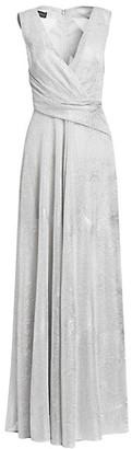 Talbot Runhof Diamond Voile Crisscross Front Gown