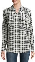 Equipment Signature Plaid Long-Sleeve Silk Shirt, Nature White Multi