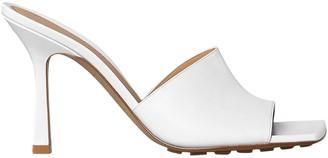 Bottega Veneta Rubber Sole Leather Stretch Mule Sandal Optic White