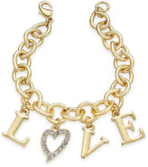 "Thalia Sodi Gold-Tone Pavé Heart ""Love"" Charm Bracelet, Only at Macy's"
