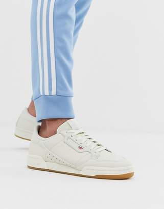 adidas continental 80s trainers in white with gum sole