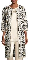 St. John Floral Fringe Embroidered Tulle 3/4-Sleeve Jacket, White/Gold