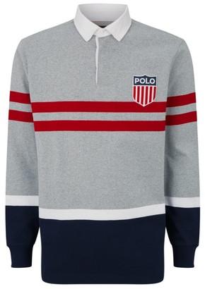 Ralph Lauren Colour-Block Applique Logo Rugby Shirt