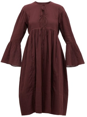 Loup Charmant Minerva Bell-sleeve Cotton Dress - Womens - Dark Purple