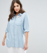 Koko Denim Look Floral Embroidered Shirt