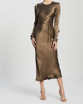Shona Joy Sophia Long Sleeve Bias Midi Dress