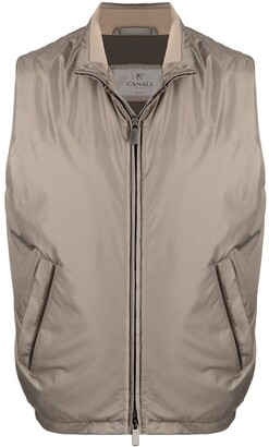 Canali Stand-Up Collar Zipped Gilet