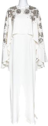 Oscar de la Renta Ivory Silk Sequin Embellished Cape Gown M