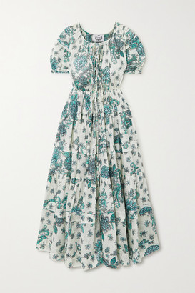Evi Grintela Rosemary Tiered Floral-print Cotton-voile Midi Dress - Green