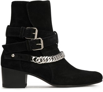 Amiri Buckle-detailed Chain-trimmed Suede Ankle Boots