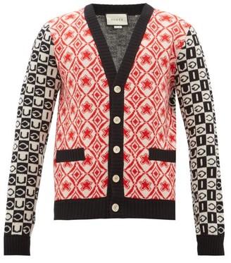 Gucci Logo Jacquard Wool Cardigan - Mens - Black Red