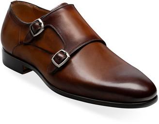 Magnanni Men's Lisbon Double-Monk Leather Loafers