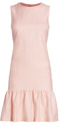 Akris Punto Raw Silk Ottoman Ruffle Hem Shift Dress