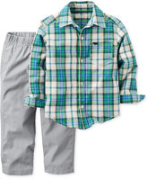Carter's 2-Pc. Long-Sleeve Plaid Shirt & Pants Set, Baby Boys