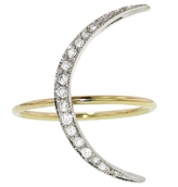 Andrea Fohrman Crescent Moon Ring With Diamonds - Yellow Gold