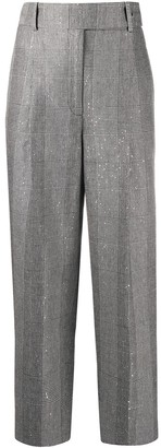 Ermanno Scervino Checked Sequin-Embroidered Trousers