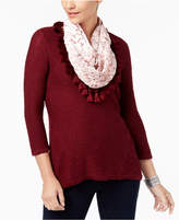 Style&Co. Style & Co High-Low Knit Top & Removable Velvet Scarf, Created for Macy's