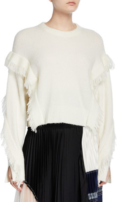 3.1 Phillip Lim Cropped Fringe-Sleeve Alpaca Sweater