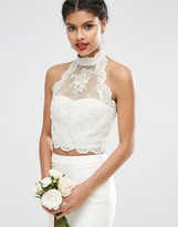 Asos BRIDAL Lace Halter Top with Button Back