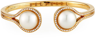 BELPEARL 18k Split Pearl Diamond-Trim Bangle