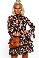 Pink Boutique Truth Hurts Black Floral Ruffle Mini Dress