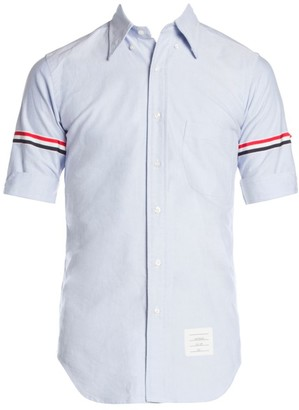 Thom Browne Classic-Fit Stripe Trim Short-Sleeve Button-Down Shirt