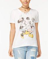 Disney Juniors' Mickey & Minnie Lace-Up Graphic T-Shirt