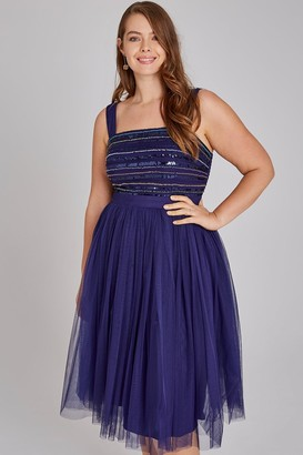 Little Mistress Curvy Drew Navy Hand-Embellished Midi Prom Dress