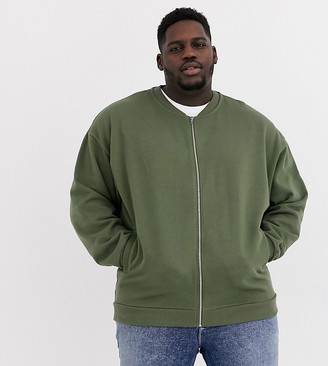 ASOS DESIGN Plus oversized jersey bomber jacket in khaki