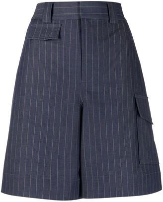 Ganni Pinstriped High-Waisted Shorts