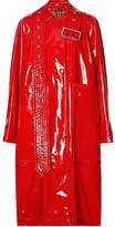 Burberry belt detail laminated coat