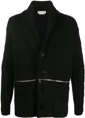 Alexander McQueen Zip-Detail Button-Up Cardigan