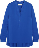 MICHAEL Michael Kors Pleated Silk Crepe De Chine Blouse - Blue