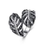 K-DESIGN : Jewelry Retro White Gold Plated Black Rhinestones Leaf Ring For Women 6.0