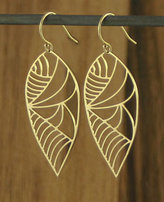 Kris Nations Gold Deco Leaf Earring