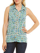 Democracy Button Front Printed Sleeveless Top