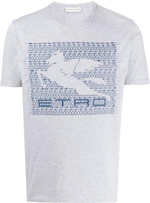 Etro logo embroidered round neck T-shirt
